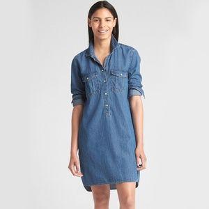 GAP Medium Wash Perfect Popover Denim Shirt Dress